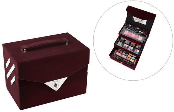 Grote foto 74 delig make up koffer met spiegel in fluweel look beauty en gezondheid make up sets