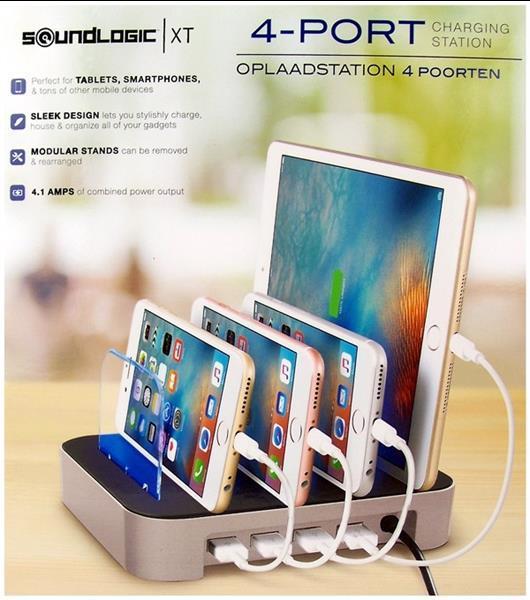 Grote foto oplaadstation voor 4 apparaten 4 usb poorten alleen deze telecommunicatie tablets