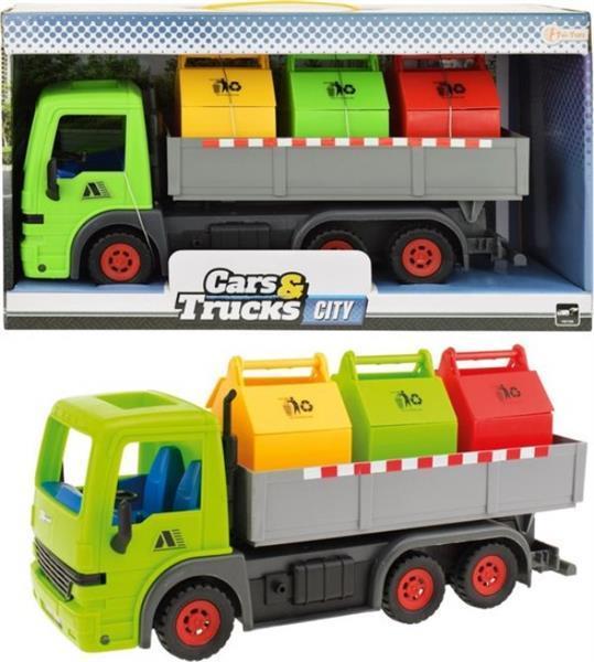 Grote foto frictie vrachtwagen met 3 containers groen 33cm 1x zakelijke goederen overige zakelijke goederen