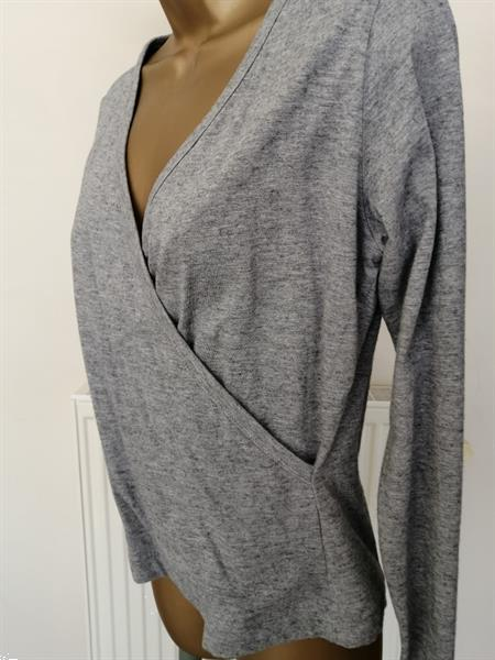 Grote foto grijs gemeleerde cache coeur crossover shirt kleding dames tops