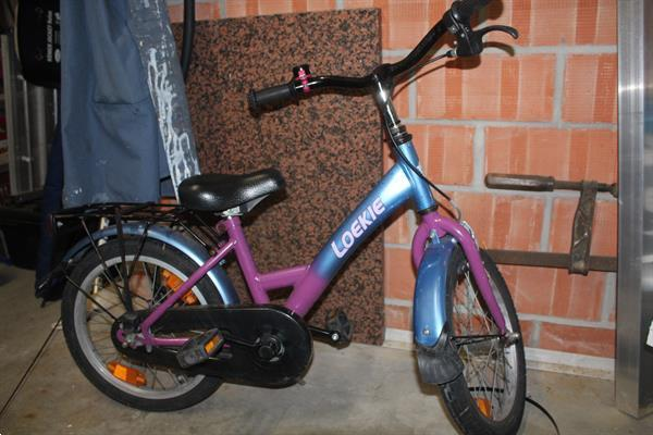Grote foto kinderfietsblauw met roos fietsen en brommers kinderfietsen