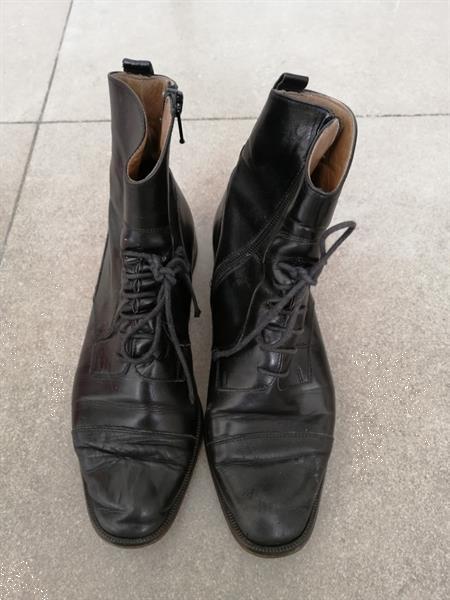 Grote foto zwarte lederen korte laarsjes van mylva 38 kleding dames schoenen