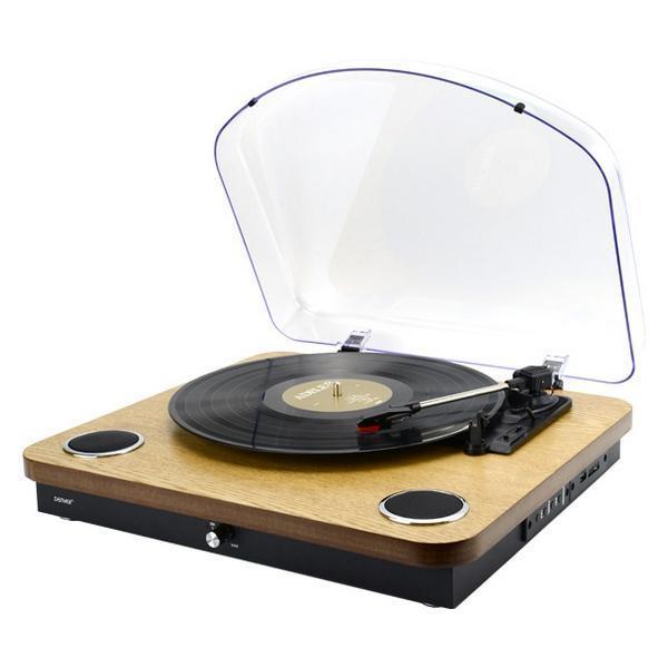 Grote foto platenspeler denver electronics vpl 210wood 5 w muziek en instrumenten dj sets en draaitafels