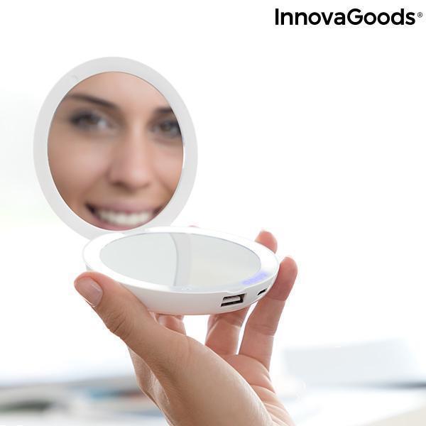 Grote foto 3 in 1 zakspiegel met led en powerbank mirbat innovagoods 30 beauty en gezondheid make up sets