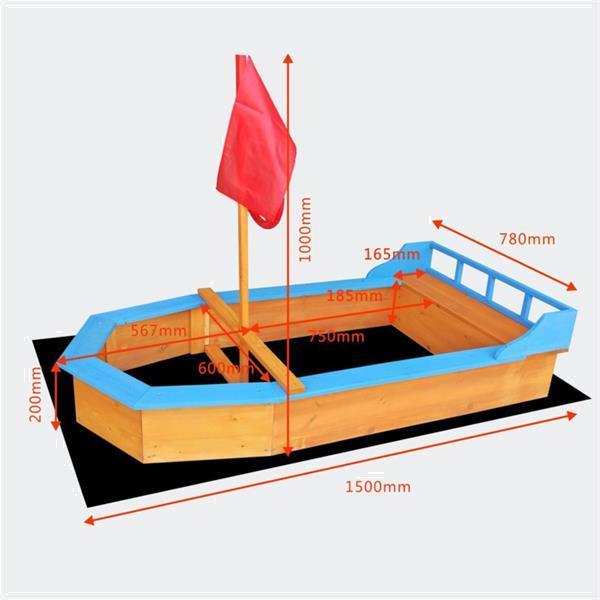 Grote foto houten zandbak boot vorm met vlaggenmast doek kinderen en baby zwembaden en zandbakken