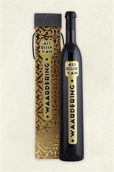 Grote foto wijnfles thank you voor uw relatiegeschenk zakelijke goederen cadeautjes